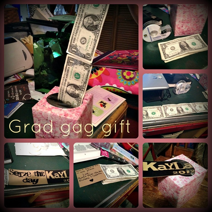 Grad gag gift money taped together and put in tissue box