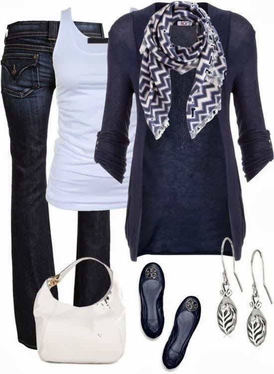 Stylish cardigan, scarf, white blouse, jeans, white handbag and slippers for fal