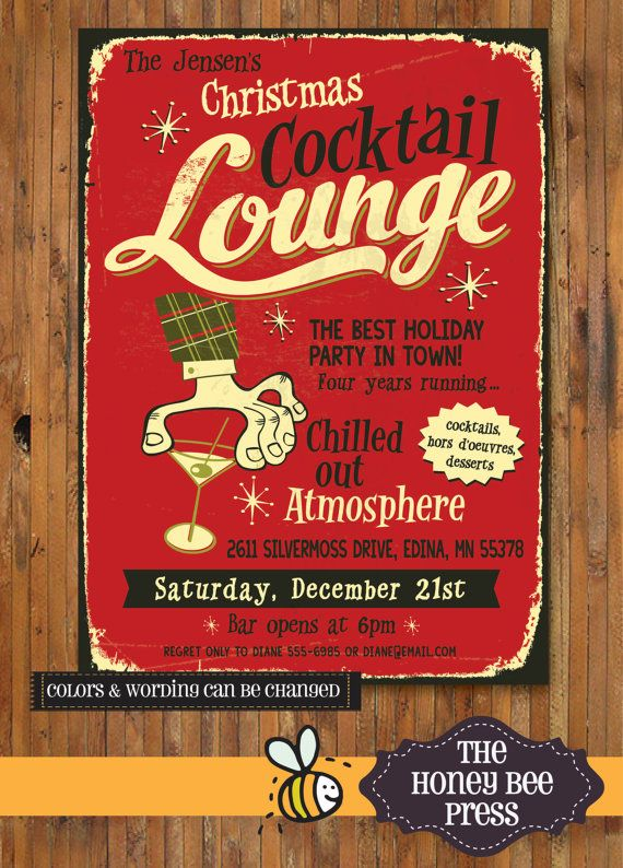 Retro Holiday Party Invitation Christmas Cocktail Lounge