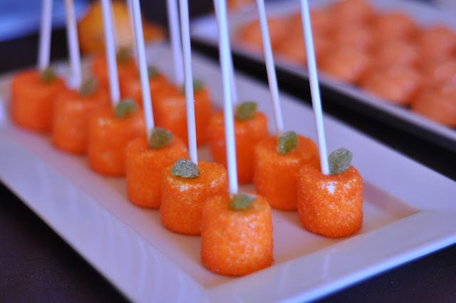 Pumpkin party!  Marshmallow sticks spritzed with water and rolled in orange sugar sprinkles.  So cute for Halloween or even just a