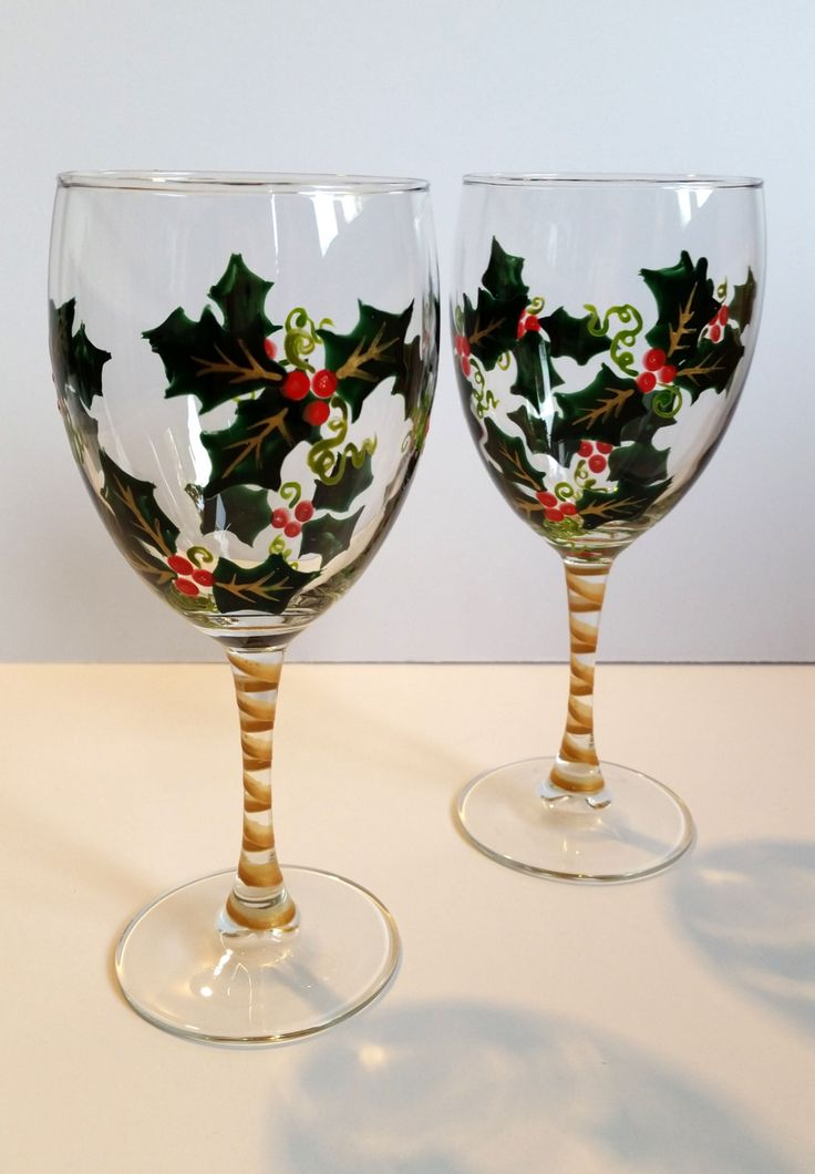 Wine Glasses Hand Painted Holly Holiday Wine Glasses