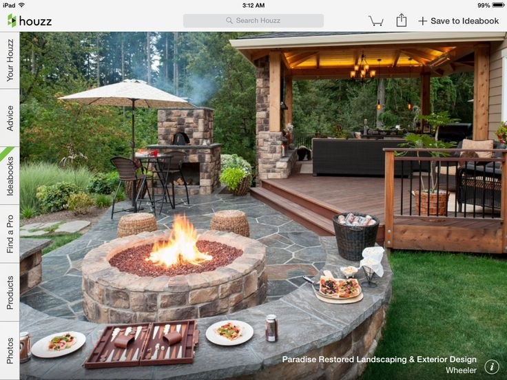 patio off the deck with fire pit insideout pinterest on best large backyard ideas with attractive fire pit on a budget id=13976