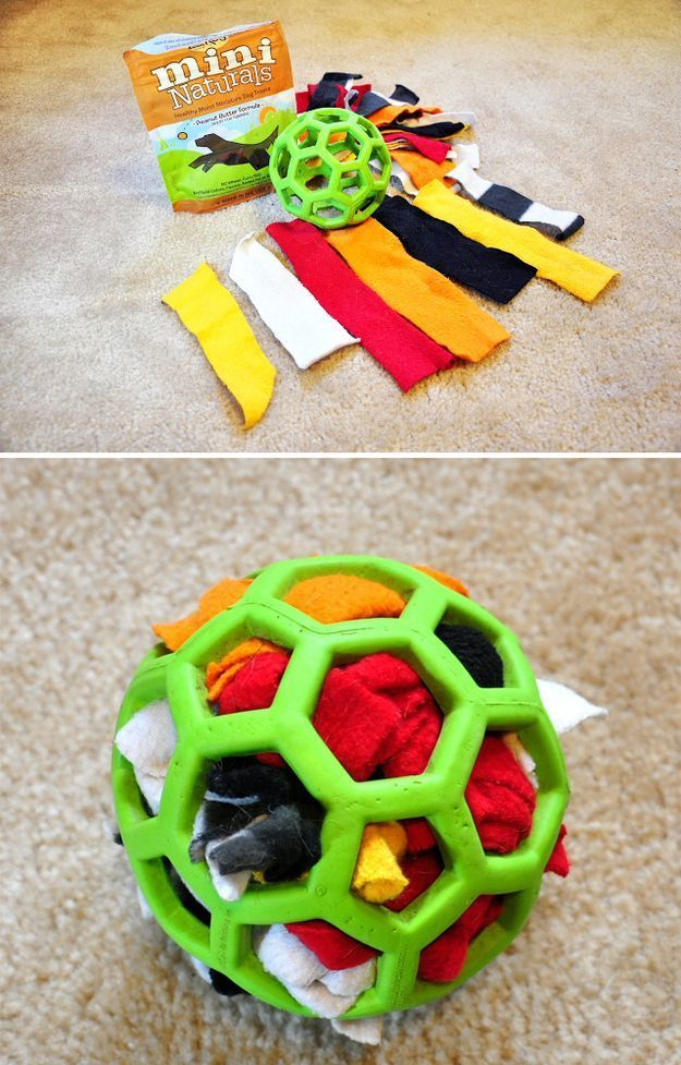 """""""For a dog who loves to tear apart stuffed animals, make a durable activity ball with a Hol-ee rubber ball, scraps of fabric, and"""