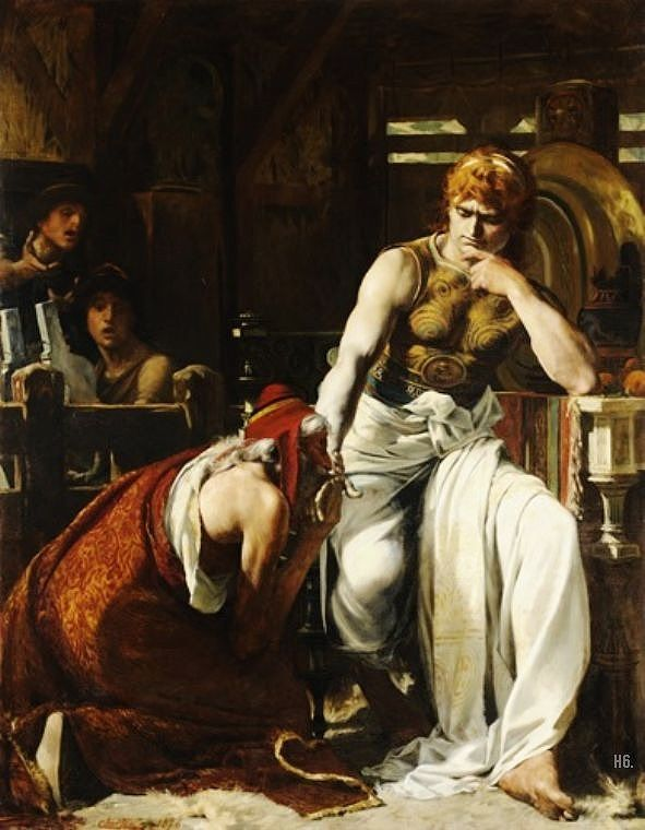Priam asking Achilles for the return of Hectors body.1876. Theobold Ccartran.: