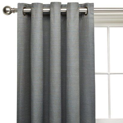 Target Home Thermal Blue Chelsea Grommet Window Panel Gray Background With Brown And Blue Ribs