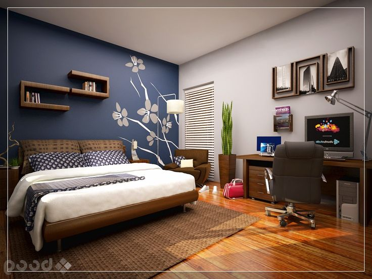 bedroom wall paint ideas cool bedroom with skylight blue on office accent wall color id=15398