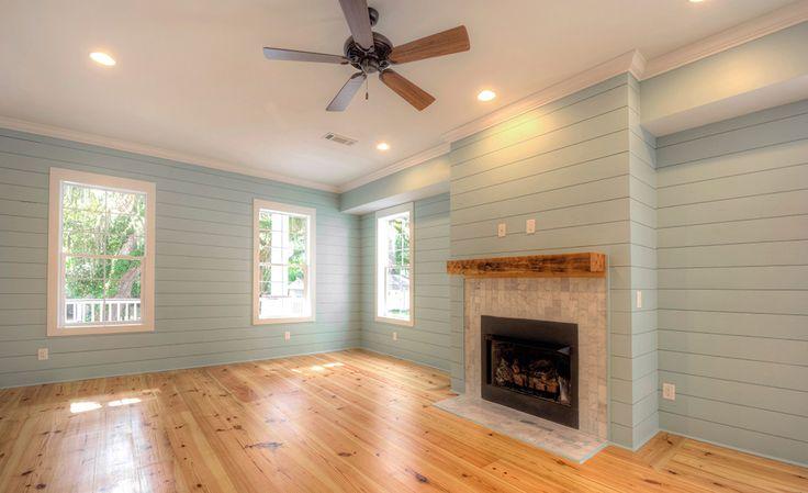 Living Room With Heart Pine Flooring Not Shiplap Nickel