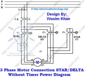 3 Phase Motor Connection STARDELTA Without Timer power