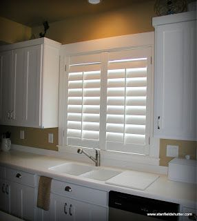Shutters Above The Kitchen Sink Farmhouse Chic