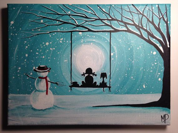 Girl And Snowman With Dog Painting What Can I See By