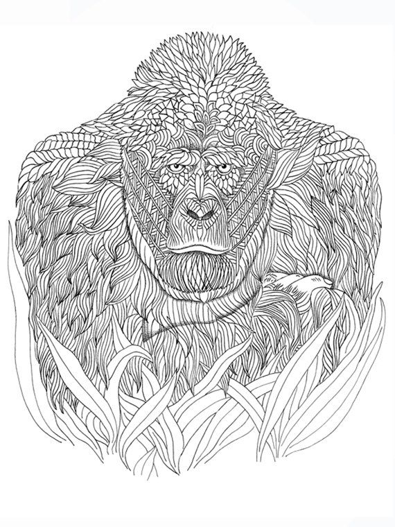 Gorilla Coloring Page Animal Coloring Pages For Adults