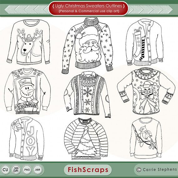 christmas ugly sweater line art coloring images
