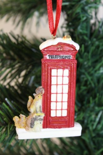 2 X Traditional British Red Telephone Box Christmas Tree