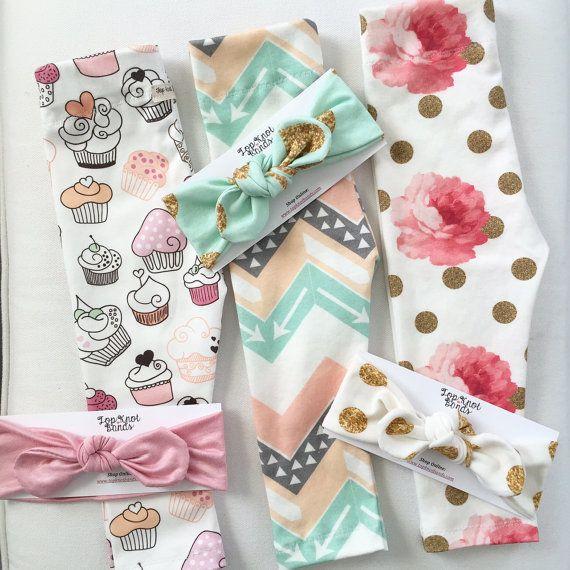Baby Leggings, Glitter & Peonies organic cotton knit , baby infant toddler, handmade on Etsy, $22.00