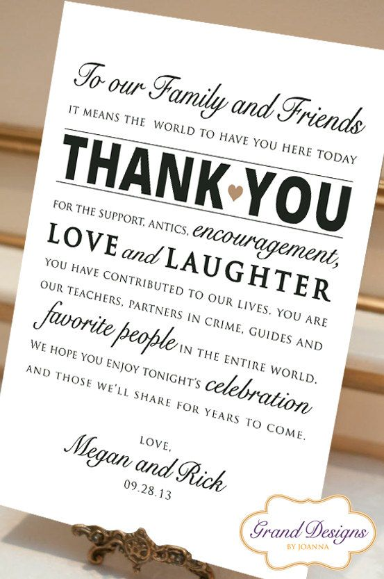 Digital File Personalized Wedding Reception Thank You Card Sign 8x10 ...
