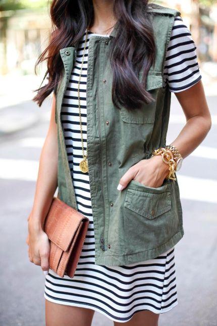 Spring / Summer - round neck stripped summer dress + olive green utility vest + brown clutch + golden bracelets