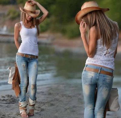 Country girl style. Ripped jeans. Tank top. Cowboy hat. Clothes  Outift for  tee