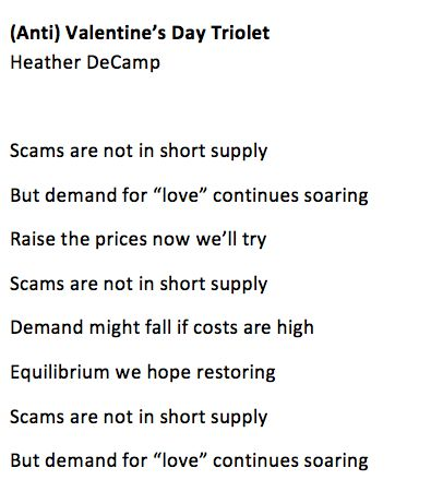 Anti Valentines Day Triolet By Heather DeCamp