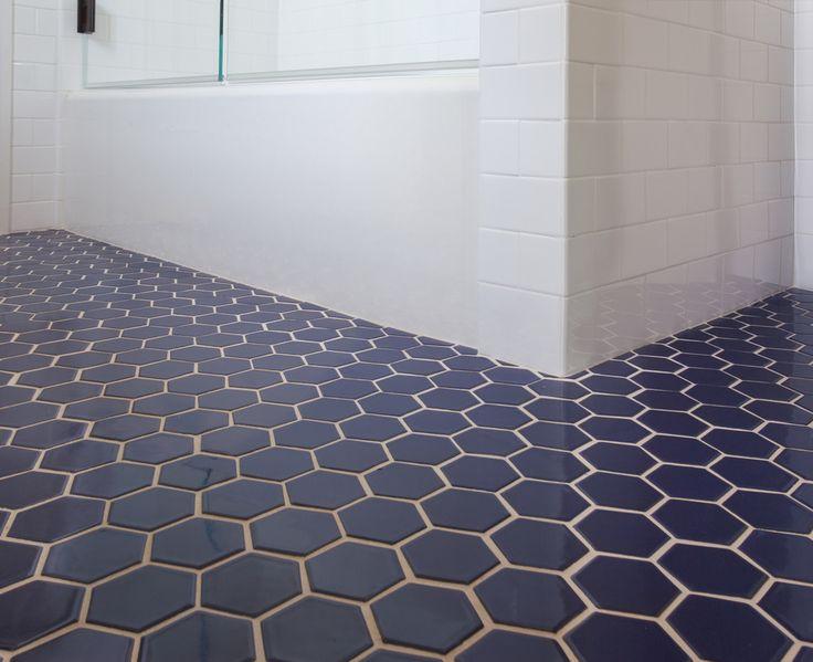 Fireclay Tile Navy Blue Hex Tile Bathroom Pinterest