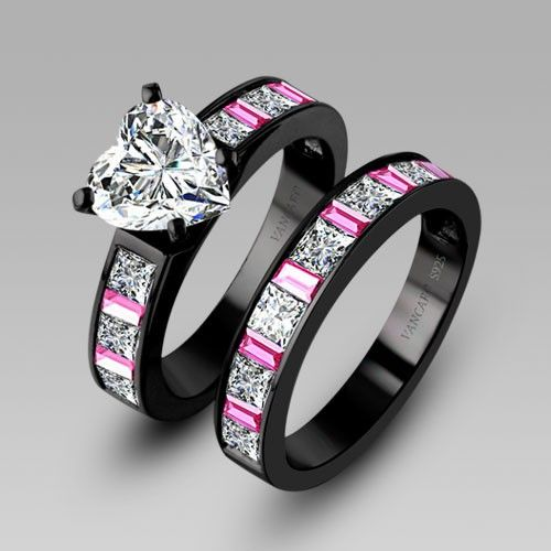 White Heart Cubic Zirconia Black Engagement Ring Wedding Ring Set For Women Black Rings With