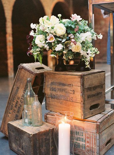 vintage wooden boxes, after using them for a vintage wedding I could turn it into a coffee table I had in my crafts board.