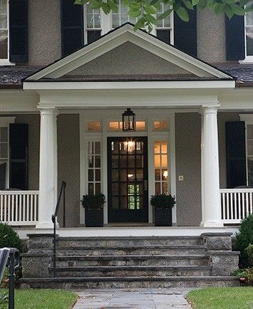 Gray House, White Trim, Black Door & Shutters….I love this color scheme!