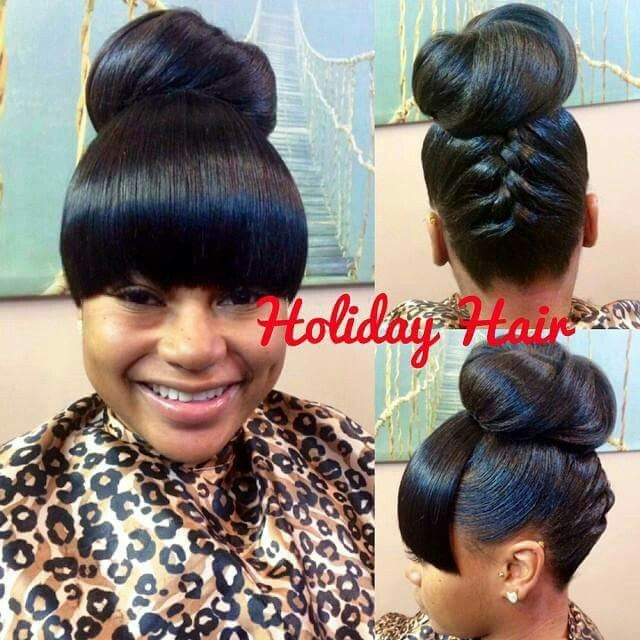 Cute Updo with bangs  Curls Buns Braids Bobs Knots