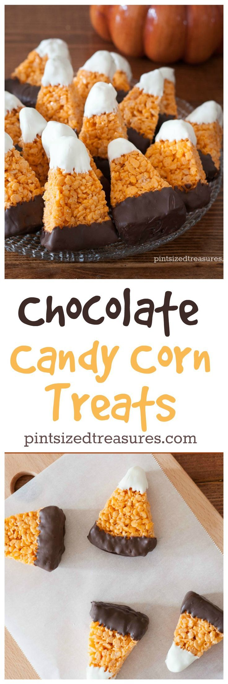 Chocolate Candy Corn Crispy Treats are super-cute and easy to make! Not to mention