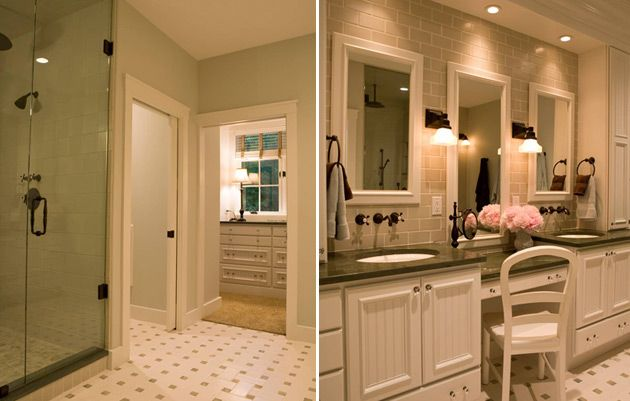 Master Bathroom With Seated Vanity Area And Shower