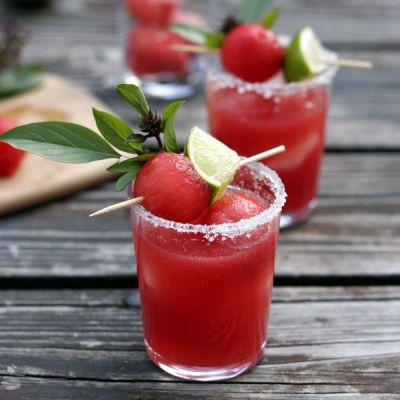Thai Basil Watermelon Margaritas: Thai Basil Watermelon Margaritas
