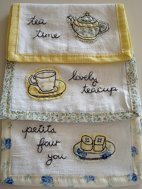 Hand Made Tea Towels with Embroidery, and hand sewn contrasting Borders  On Vintage Linen not vintage, but