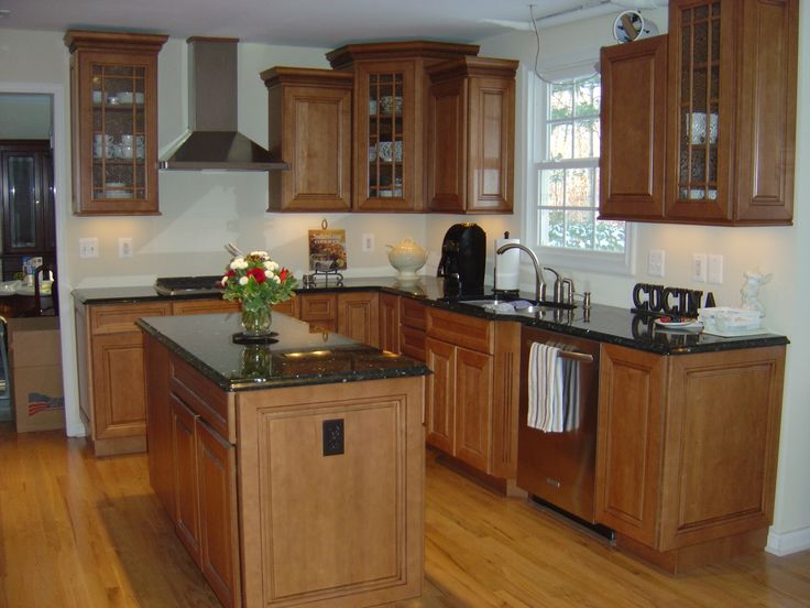 Maple cabinets with black countertops | kitchy | Pinterest ... on Countertop For Maple Cabinets  id=28775