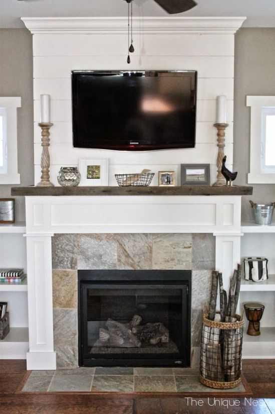 Shiplap Fireplace with reclaimed wood mantle and built-ins ~ www.theuniquenest.com: