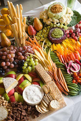 cheese, fruit and veggie platter. Beautiful presentation