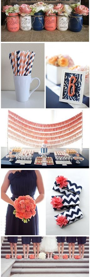 Coral and navy blue wedding ideas http://www.theperfectpalette.com/2014/05/pretty-palette-navy-blue-and-coral.html:
