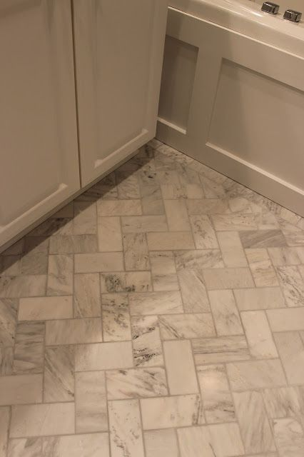 Master Bathroom Renovation – herringbone floor