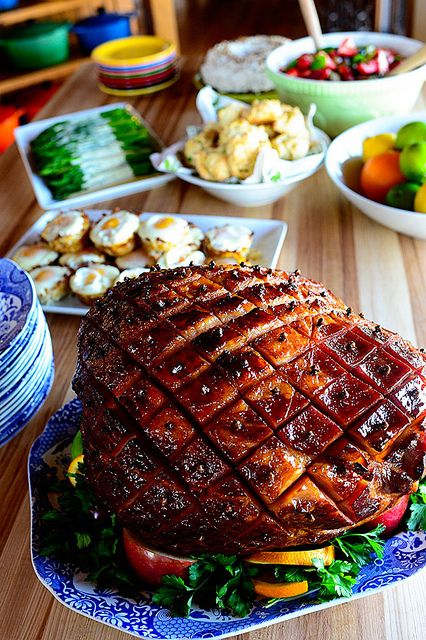 Baked Easter Ham by Ree Drummond / The Pioneer Woman …probably use for Christmas…use Coke or Dr Pepper