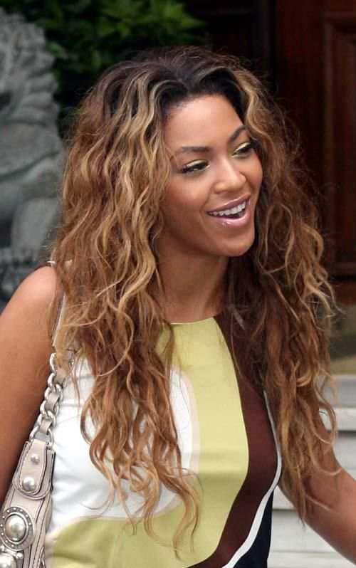 100 Human Hair Celebrity Beyonc Elegant Brown Long Wavy