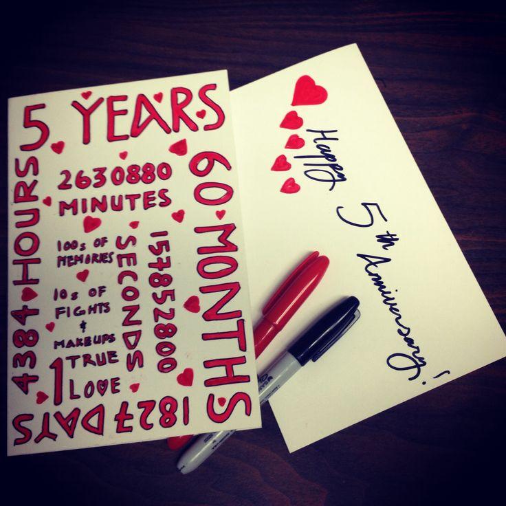 5 year anniversary card i made m y s t u f f pinterest