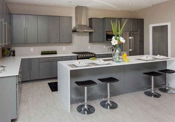 modern minimalist custom kitchen design ideas featuring white grey kitchen color scheme and on kitchen ideas white and grey id=78395