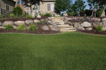 tiered yard landscaping | This backyard had level changes ... on Tiered Yard Ideas  id=44938