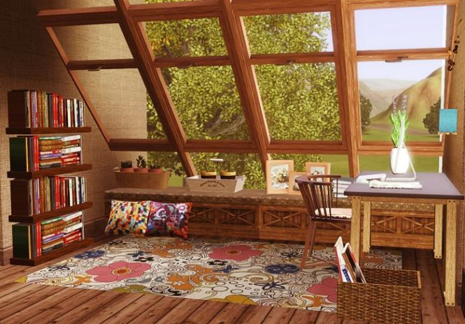 Lovely Study Made By Ohmypominit In The Sims 3 I Love Those Windows Sim Nation Pinterest Window And House