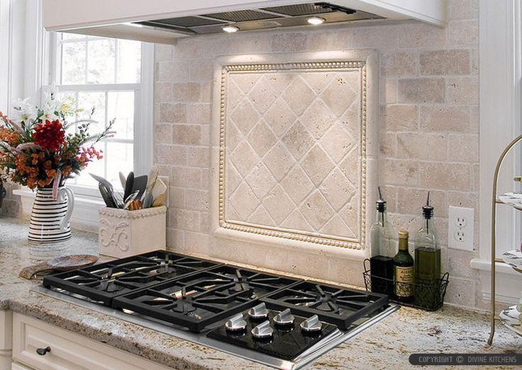 Antiqued 4x4 Ivory Travertine Backsplash Tile Cabinet