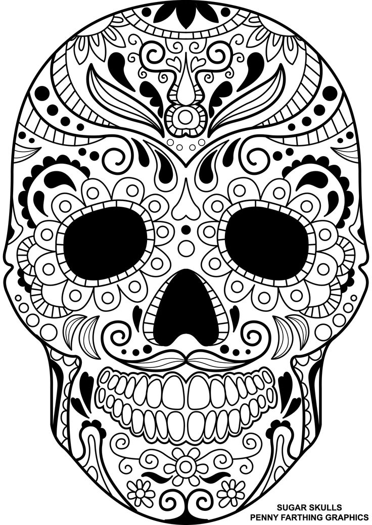 """skull from """"sugar skulls  day of the dead"""" coloring page"""