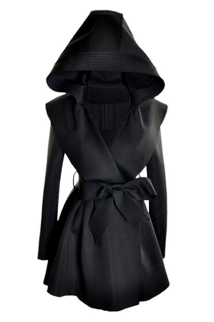 Slim Hooded Black Trench Co