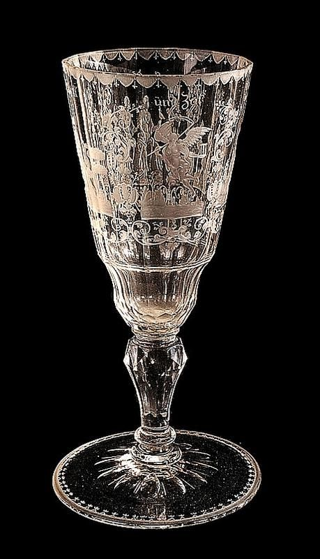 A Fine Etched Wine Goblet Pokal Attributed To Christian