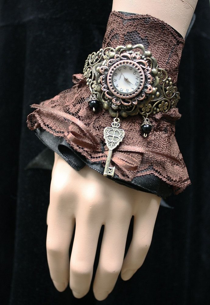 Steampunk Gothic  Watches  Ruffle  Lacer  and  filigree Cuff   bracelets  Gothic