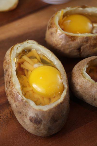 Twice baked breakfast potato: butter insides, add cheese ...