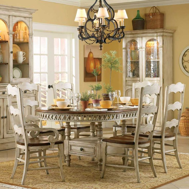 Hooker Furniture Summerglen Seven Piece Round Dining Table With One Pass Through Drawer