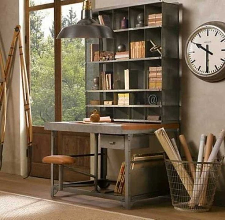 rustic home office ideas with nice wooden desk with rack on desk color ideas id=20474